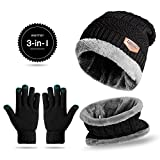 Nelipo Warm Winter Beanie Hat + Scarf + Touch Screen Gloves, Unisex 3 Pieces Set for Men and Women (Black)