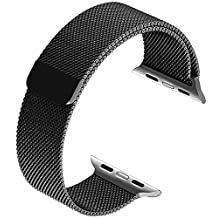 Apple Watch Band 42mm, top4cus Milanese Loop Stainless Steel Bracelet Strap Replacement Wrist iWatch Band with Magnet Lock for 42mm Watch (42mm Black)