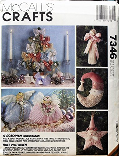 1994 McCall's SEWING PATTERN 7346. VICTORIAN CHRISTMAS Decorations: Heart Wreath, Lace Mantel Cloth, Tree Skirt, 5.5