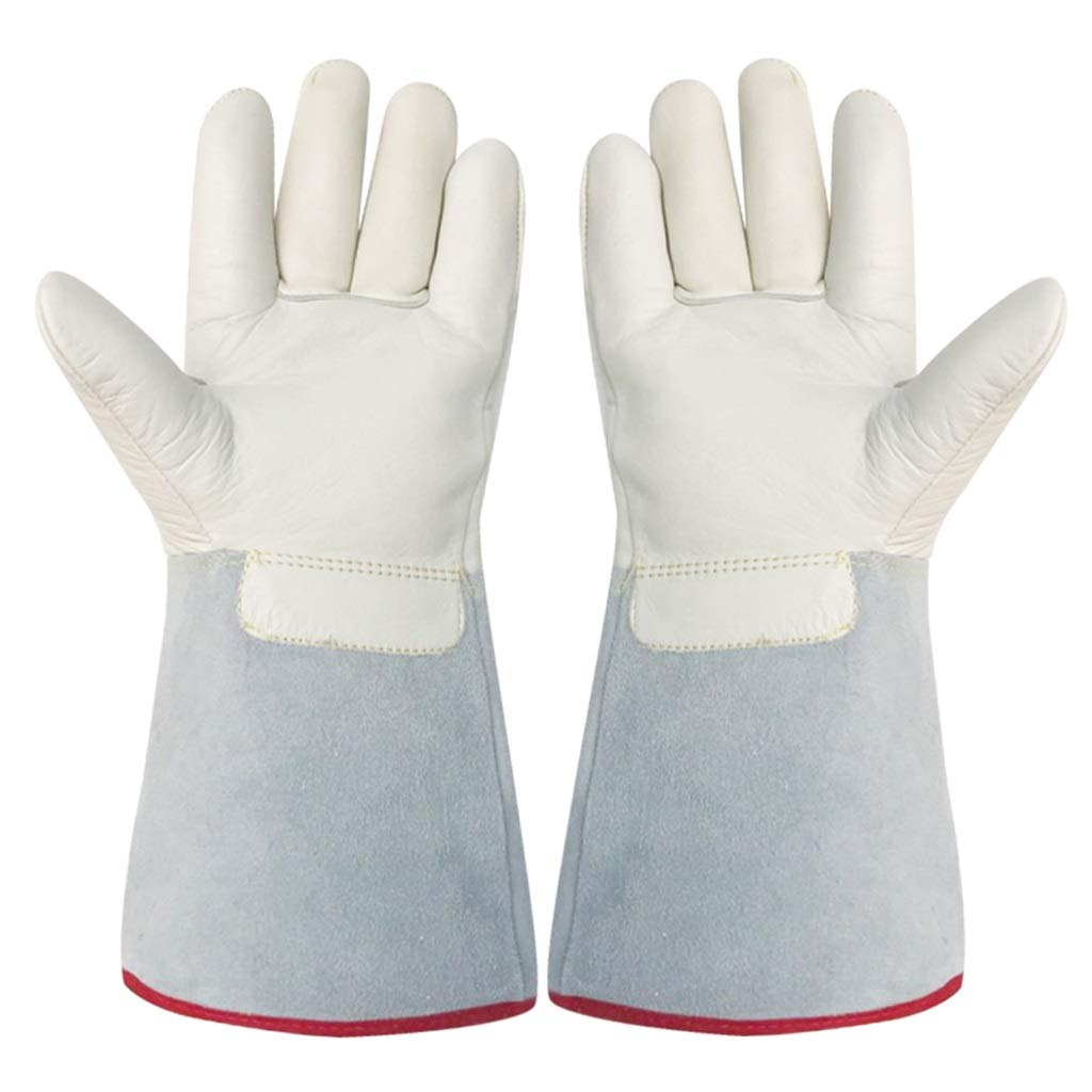 LZRZBH Gardening Gauntlet Gloves-80-200°Liquid Nitrogen Gloves Cold Storage Dry Ice Anti-Freeze Gloves Work for Welders Leather Gloves Heat Resistant (Size : S)