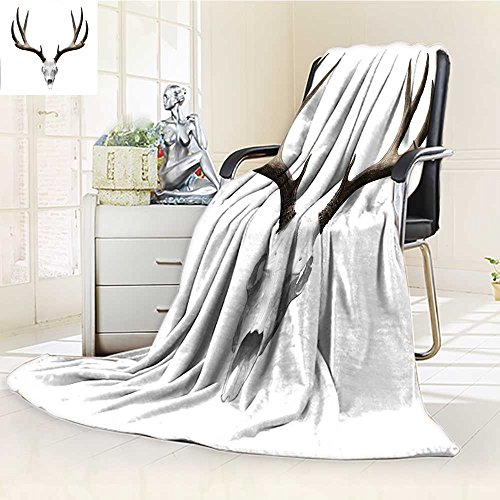 (YOYI-HOME Supersoft Fleece Throw Duplex Printed Blanket A Deer Skull Skeleton Head Bone Halloween Weathered Hunter Anti-Static,2 Ply Thick,Hypoallergenic/W47 x)