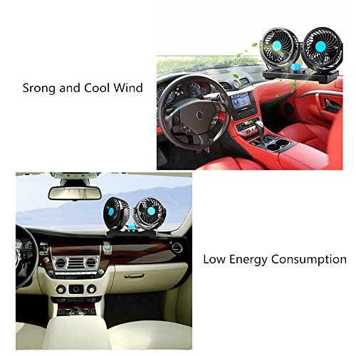 12V Fan Cooling Air Fan Powerful Dashboard Electric Car Fan Low Noise 360 Degree Rotatable with 2 Speed Adjustable for Vehicle Truck RV SUV or Boat by EXCOUP (Image #6)