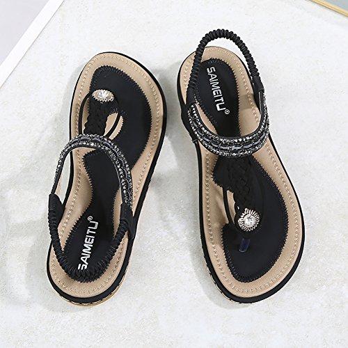 Meeshine Womens Summer Beach Flat Sandals Rhinestone Shiny Beads Slip On Flip Flops Thong Shoes(11 B(M) US,Black 04) by Meeshine (Image #2)