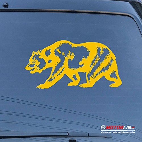 3S MOTORLINE California Bear Decal Sticker Cali Car Vinyl pick size color Californian Flag (yellow, 40'' (101.6cm))