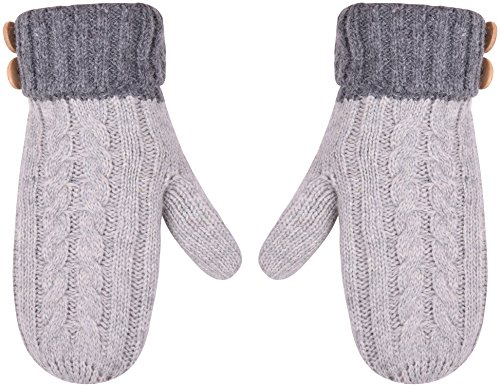 Winter Cable Knitted Gloves Thick Knit Warmest Gloves With Buttons For Men Women