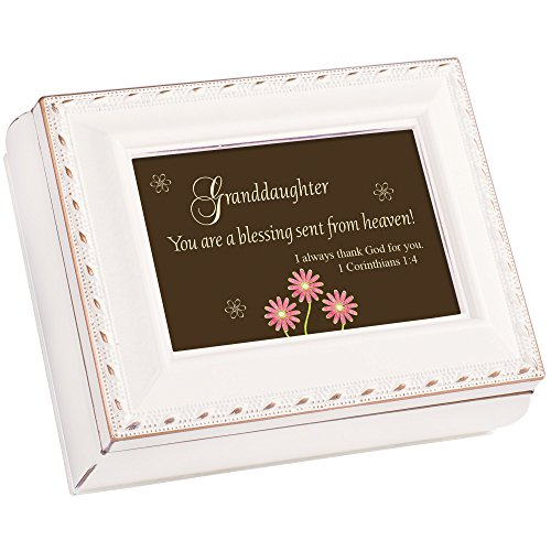 Cottage Garden Grandaughter You are a Blessing Ivory Rope Trim Tiny Square Jewelry and Keepsake Box