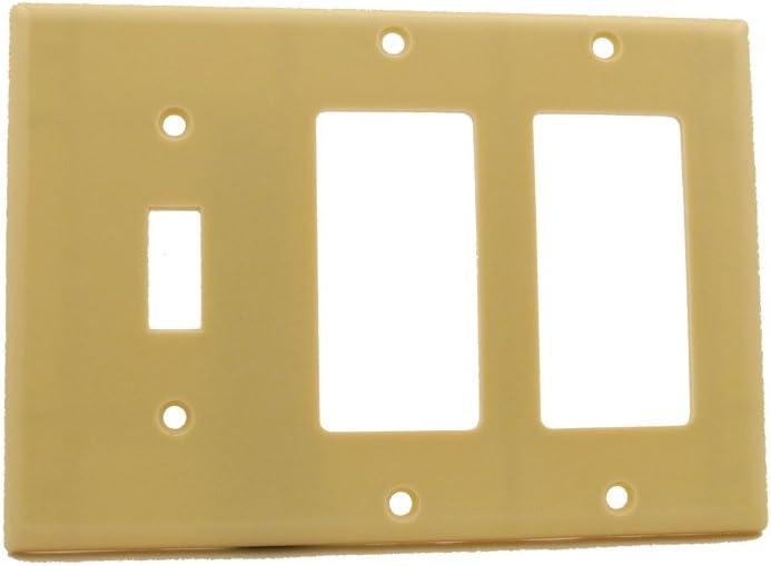 Leviton 80431-I 3-Gang 1-Toggle 2-Decora/GFCI Device Combination Wallplate, Standard Size, Thermoset, Device Mount, Ivory