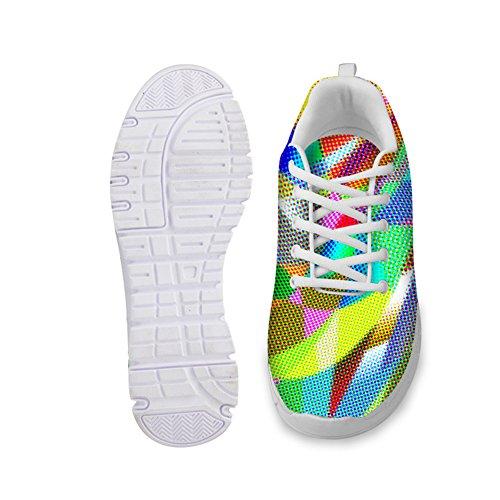 Hugsidea Kleurrijke Casual Dames Lace-up Sneakers Mesh Ademende Hardloopschoenen Us11