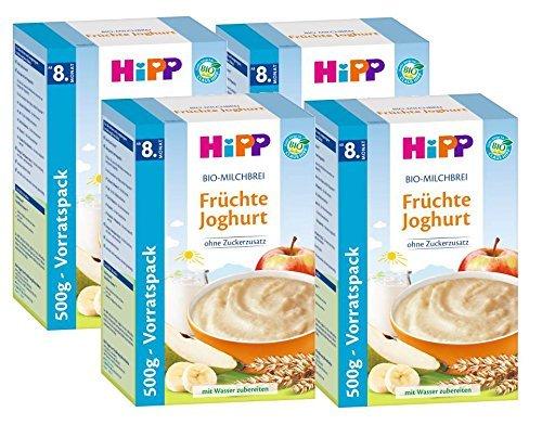 Hipp Organic Milk Cereal yogur de frutas, 4-pack (4 x 500g)