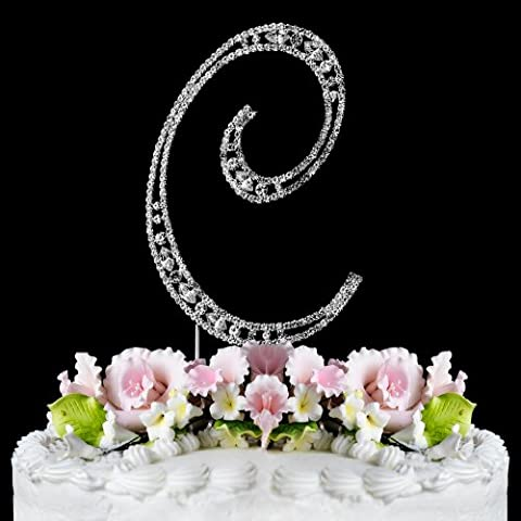 Vintage ~ Swarovski Crystal Wedding Cake Topper ~ Letter C - Swarovski Crystal Wedding Cake