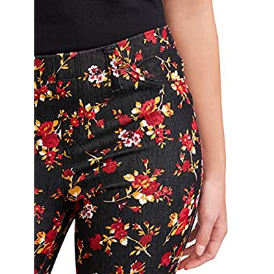 Time and True Black Floral Print Jegging - X-Small at  Women's Clothing store