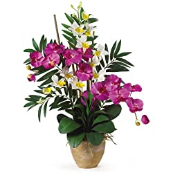 Nearly Natural Double Phalenopsis/Dendrobium Silk Flower Arrangement, Orchid/Purple Valentine's Day Gift