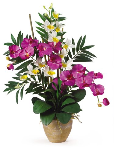 Dendrobium Silk Orchid Arrangement - Nearly Natural 1071-OC Double Phalenopsis/Dendrobium Silk Flower Arrangement, Orchid/Purple