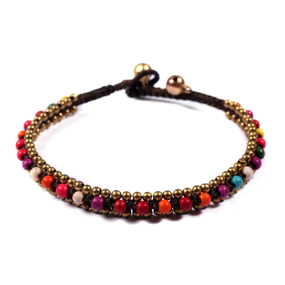 Lannaclothesdesign Womens Beaded Anklet with Brass Beads Adjustable 9.5'' (Multi Stone)