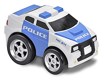 Kid Galaxy Squeezable Pull Back Police Car. Toddler Emergency Vehicle Toy for Kids Age 2