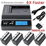 Kastar Ultra Fast Charger(4X faster) Kit and Battery (4-Pack 5800mAh) for Sony NP-F770, NP-F750, NP-F730 work with Sony DCR-TRV820, CCD-SC55, DCR-TRV820K, CCD-SC65, CCD-TRV815, DCR-TRV9, CCD-TR3, DCR-TRV900, CCD-TR3000, CCD-TRV85, DCR-VX200, CCD-TR3300, CCD-TRV86PK, DCR-VX2100, CCD-TR516, DCR-VX2100E, CCD-TR555, CCD-TRV88, DCR-VX700, CCD-TR67, CCD-TRV90, DSC-D700, CCD-TR716, CCD-TRV91, DSR-PD170, CCD-TR76, CCD-TRV93, HDR-FX1, CCD-TR818, CCD-TRV95, HVR-Z1U, HXR-MC2000U, NEX-FS700U, GV-D700
