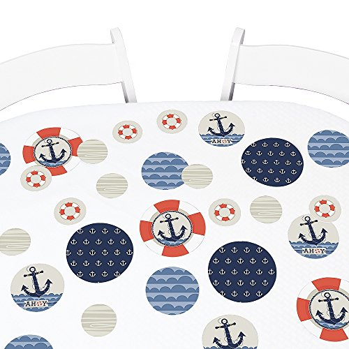 Big Dot of Happiness Ahoy - Nautical - Baby Shower or Birthday Party Giant Circle Confetti - Party Decorations - Large Confetti 27 Count ()