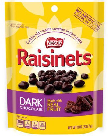 RAISINETS Dark Chocolate 8 oz. Standup Bag (pack of 2) (Covered Chocolate Raisins Raisinets)