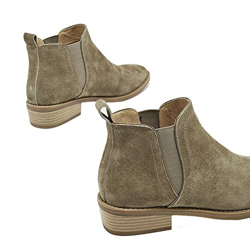 Suede Shoes Boots Heels wdjjjnnnv Leather Elastic Flat Comfort 36 Short Ladies Warm Ankle Casual KHAKI wtp7qSXp