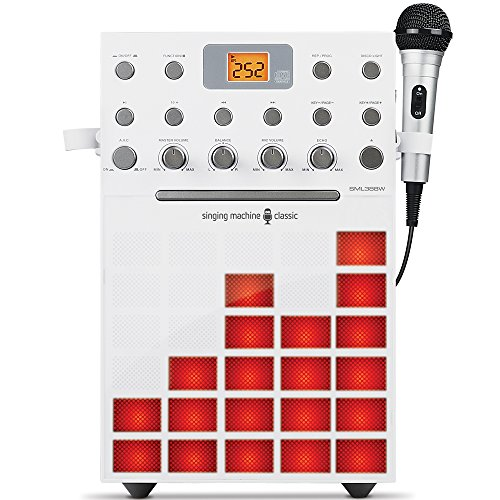 Singing Machine SML388W Karaoke Machine with Music Synchronizing Light Show (White)