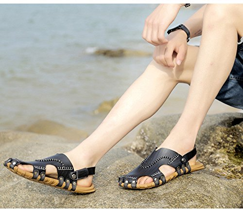Pattini respirabili della spiaggia dei sandali della fibra di estate degli uomini di nuovo modo degli uomini Scarpe di pattini degli uomini di tempo libero Uso doppio, nero, UK = 8.5, EU = 42 2/3