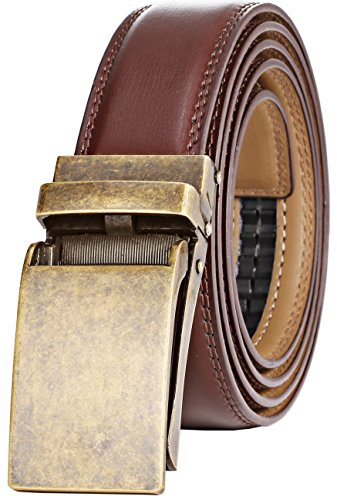 "Marino Avenue Men's Genuine Leather Ratchet Dress Belt with Linxx Buckle, Enclosed in an Elegant Gift Box - Gold Vintage Buckle W/ Brown Leather - Adjustable from 28"" to 44"" Waist"