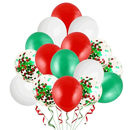 XIAMEND 90Pcs Green and Red Confetti Balloons, 15 Inch Latex Party Balloons with Green and Red Paper Confetti Dots for Wedding Engagement Party Decorations (Color : Multi-Colored)