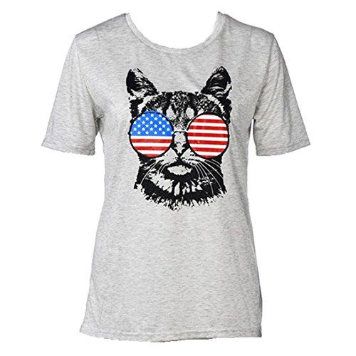 Leegor Women fashion Flag Glasses Cat Casual T-shirt Tops Short Sleeve Blouse (M, - Trend 2016 Glasses Korean