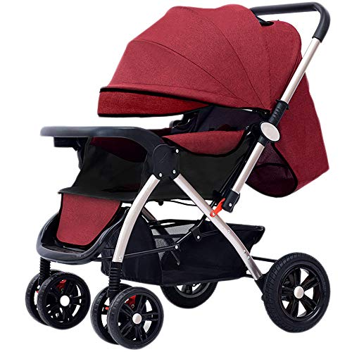Mom Luxury Baby Stroller High Landscape Light Folding Four Wheels Baby Pram Can Sit Can Lie Can on The Airplane Travel System Children Pram for Newborn