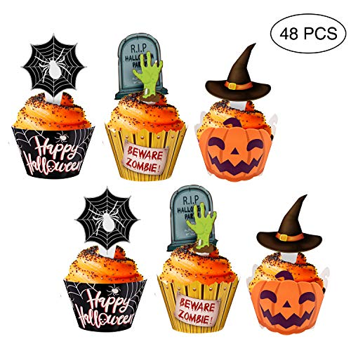 Halloween Cupcake Toppers Wrappers - Spider Web Pumpkin Zombie Hand Cake Party Decorations Supplies