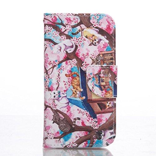 PowerQ Bunte Muster Reihe PU Artificia-Leder Tasche Holster Hülle Etui Fall Case Cover < Plum cat | für IPhone6SPlus IPhone 6SPlus 6Plus IPhone6Plus >        mit schönen hübschen Muster Druck Detailzeichnung