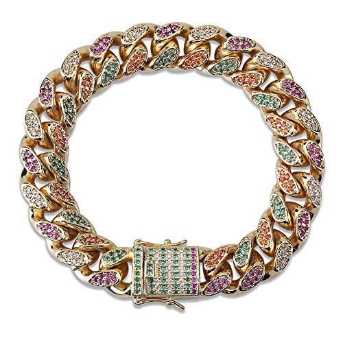 TOPGRILLZ Men's Iced Out CZ Simulated Diamond Bling Rainbow Big Dog Miami Cuban Link Bracelet Hip Hop Jewelry (7, 14MM Gold) ()