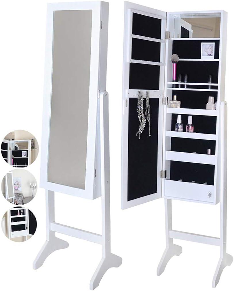 cajones con cerradura organizador de dormitorio IceCreamLiving M028 armario de joyer/ía con espejo de pie con luces LED