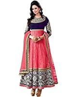 Chigy Whigy Women's Georgette Semi-Stitched Anarkali Salwar Suit (Mahi Pink5_Pink_Free Size)
