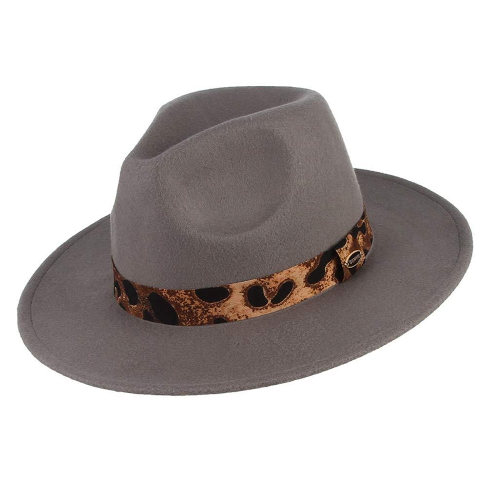 SANOMY Unisex Classical Fedoras Hats Fashion Leopard Ribbon Wide Brim Jazz Cap