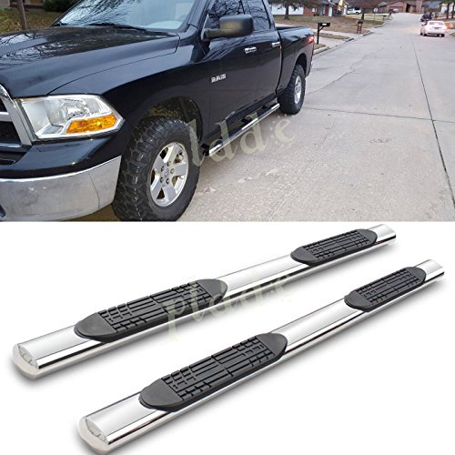 "PLDDE 2pcs 4"" Oval Tube Chrome Stainless Steel Side Step Nerf Bars Running Boards + Brackets + Installation Instruction Fit 09-18 Dodge Ram 1500 Extended/Quad Cab With Small Size Rear Doors"