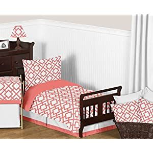 Sweet Jojo Designs Fitted Crib Sheet for White and Coral Diamond Baby/Toddler Bedding – Diamond Print