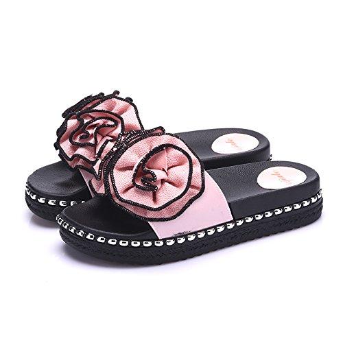 FankouZapatillas gruesas femenino interiores elegantes de verano Inicio el piso antideslizante con una estancia personalizada hasta zapatillas cool verano ,39, Rosa