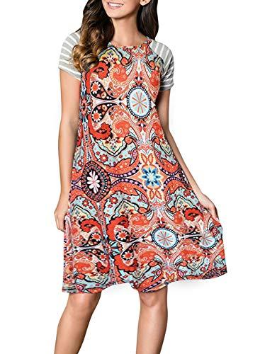 (HOTAPEI Womens Ladies Modest Floral Print Short Sleeve A Line Swing Boho Summer Midi Cotton Shift T Shirt Dresses for Women Casual Knee Length Cute Sun Dresses X-Large)