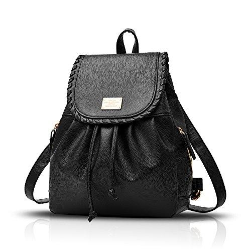 Sunas Nuevas mujeres mochila casual estudiante mochila con cordón bolsa de viaje concha negro