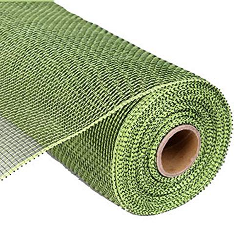 Apple Burlap Ribbon - 10 inch x 30 feet Deco Poly Mesh Ribbon - Value Mesh (Moss Green/Apple Green)