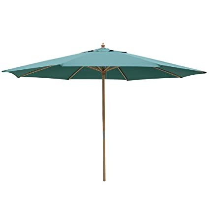 ec031b1fdf4a All Weather Heavy Duty 13 ft Sycamore Wood Backyard Umbrella Green Color  Canopy Pulley Patio Outdoor Beach Market Poolside Deck