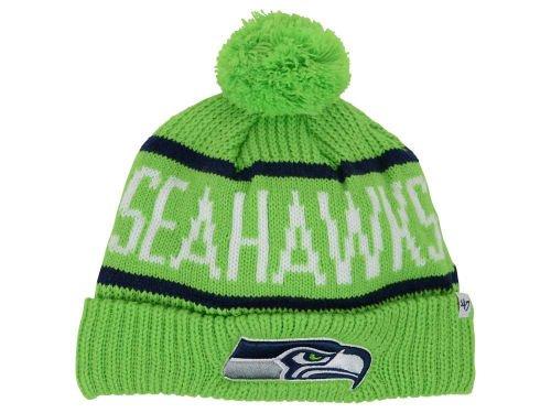 残酷モバイル指導するSeattle Seahawks CuffニットBeanie w / Pom 1つサイズOSFAカーネギー帽子キャップ – NFL AuthenticライムグリーンW /ネイビーブルーアクセント
