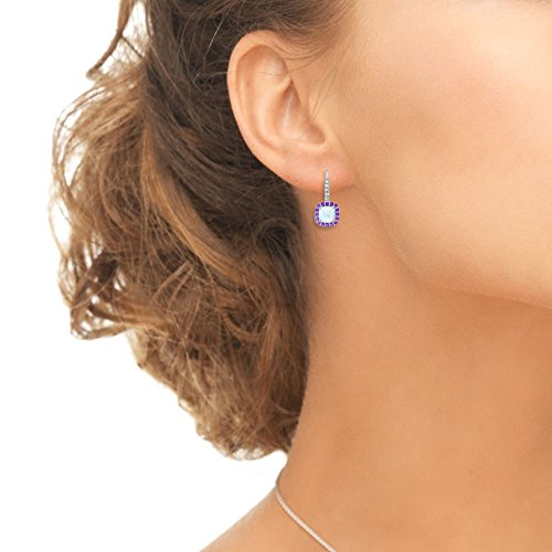 Sterling Silver Simulated White Opal Simulated Gemstone Cushion-cut Halo Leverback Earrings