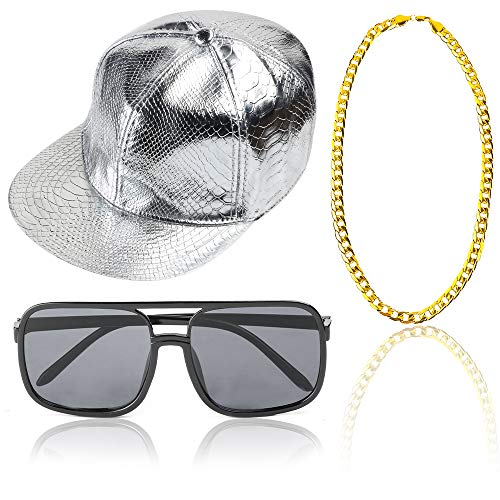 Beelittle Rapper Hip Hop Costume Accessories Set Adjustable Solid Flat Brim Snapback Baseball Cap Sunglasses Gold Plated Chain (B) -