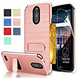 LG Stylo 3 / Stylo 3 Plus / LG Stylus 3 case with HD Screen Protector,AnoKe[Card Slots Holder][Not Wallet] Plastic TPU Hybrid Shockproof for LG LS777 KC1 Rose Gold