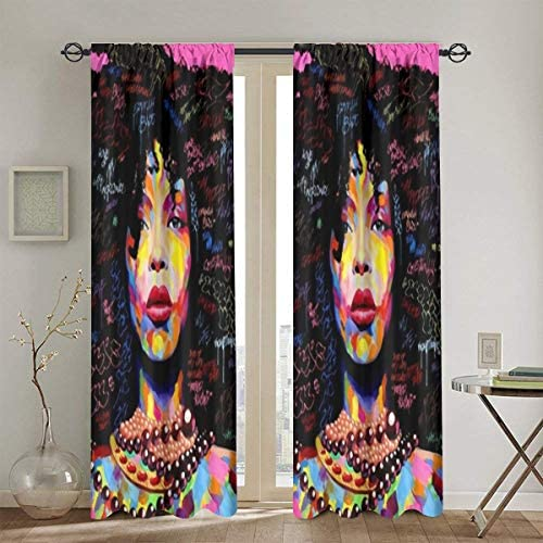 Tidyki African Black Girl Rock Woman Art Drapes Treatment Window Elegance Blackout Curtains 2 Panel