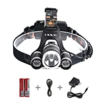 ProGreen 30W 5000 Lumen LED Headlamp, 4 Modes Adjustable Waterproof LED Flashlight Torch for Camping, Running, Hiking, Riding, Hands-free Camping Headlight, 2*18650 Rechargeable Batteries Included