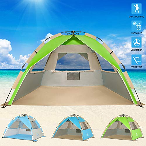 G4Free Upgraded Easy Setup Beach Tent Deluxe XL Sun Shelter with UPF 50+ UV Protection, 4 Person Family Size Sun Shade Cabana for Camping Sports ()