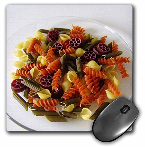 (3dRose Florene Food n Beverage - Tri Color Pasta - MousePad (mp_30722_1))